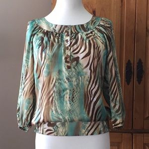 Teal and brown print blouse. Size S.